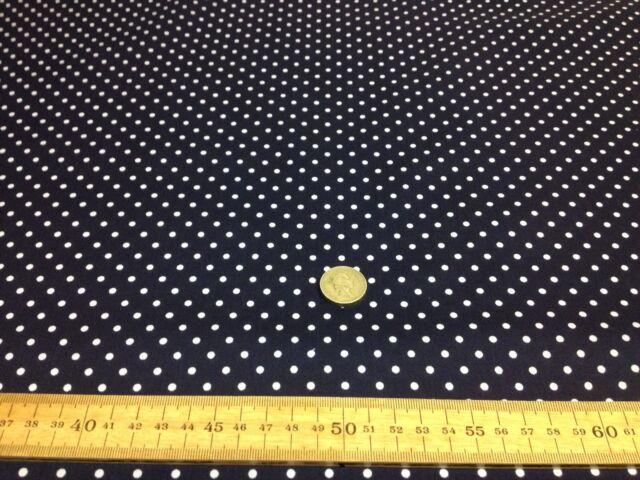 Polycotton Fabric SPOTTED POLKA DOT Dark NAVY with 4mm TINY WHITE SPOTS