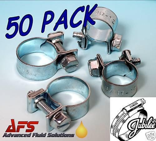 50 x 14mm -16mm Jubilee Mini Junior Fuel Line Hose Clip Petrol Diesel Pipe Clamp
