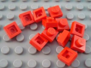 LEGO Lot of 12 Red 2x4 Flat Building Plate Pieces