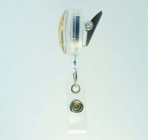 Retractable Badge Reel ID Lanyard Name Card Holder Butterfly Yellow Purple Green