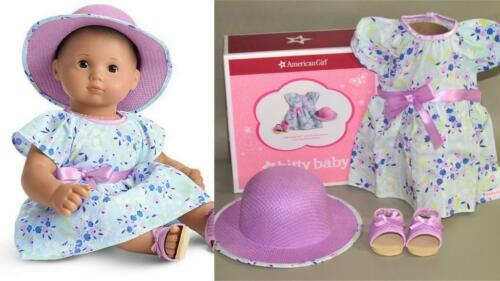 AMERICAN GIRL BITTY BABY SWEET SPRING OUTFIT 4 DOLLS DRESS HAT SANDALS NIB