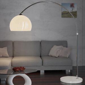DEUBA-Design-Bogenlampe-weiss-Marmorfuss-146-220cm-Lampe-Stehlampe-Stehleuchte
