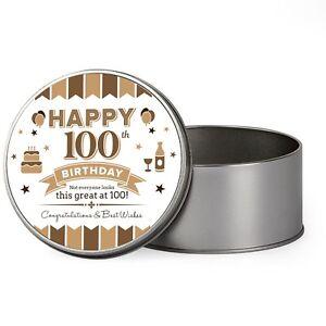 Image Is Loading 100th Birthday Keepsake Novelty Funny Tin Gift Box