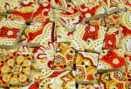 China Mosaic Tiles ~ PAiSLeY ReD /& GOLD ~ Broken Plate Tiles Mosaic Tiles
