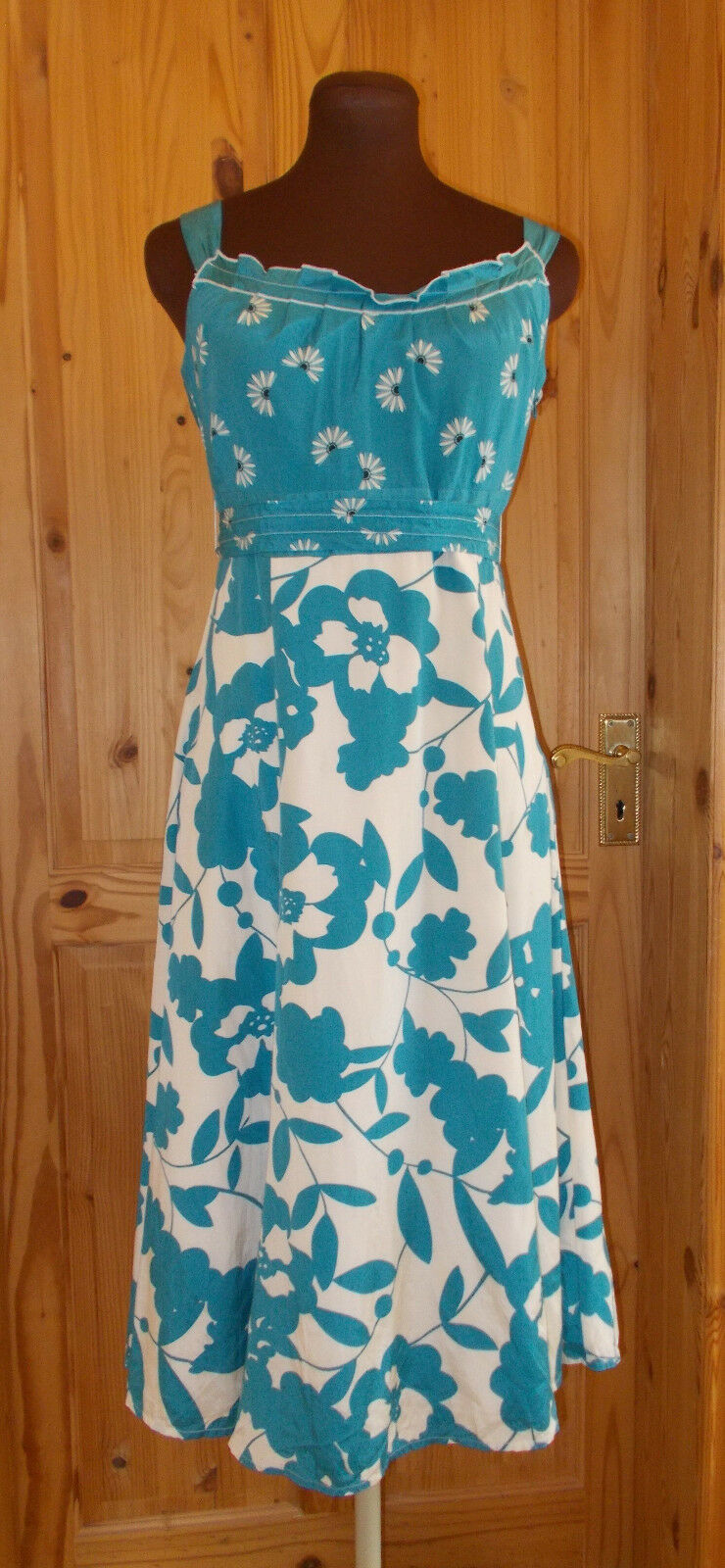 MONSOON cream ivory off-white teal turquoise floral SILK party tea dress 12 40