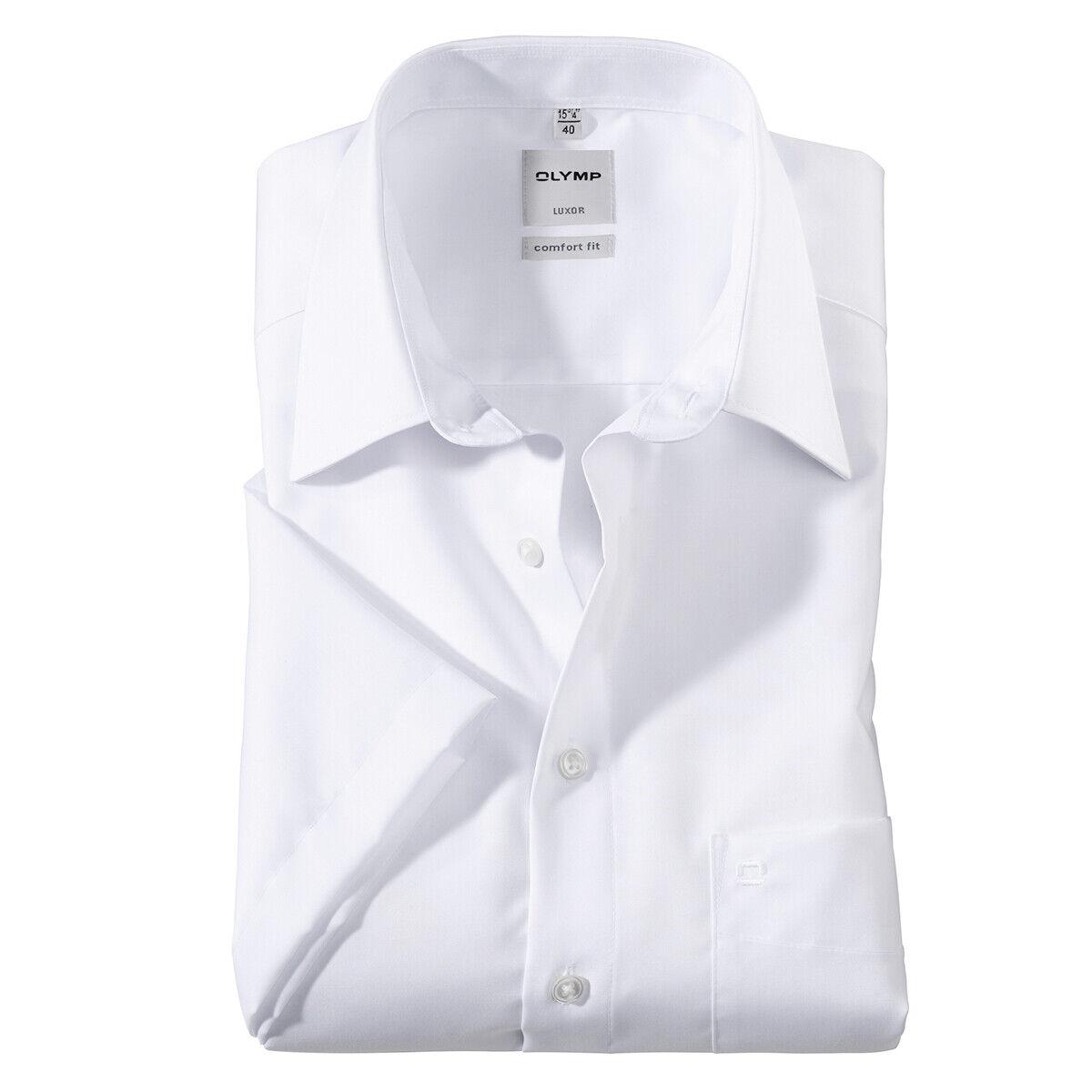 XXL Olymp bügelfreies Kurzarm-Businesshemd weiß 42 43 44 45 46 47 48 49 50 NEU