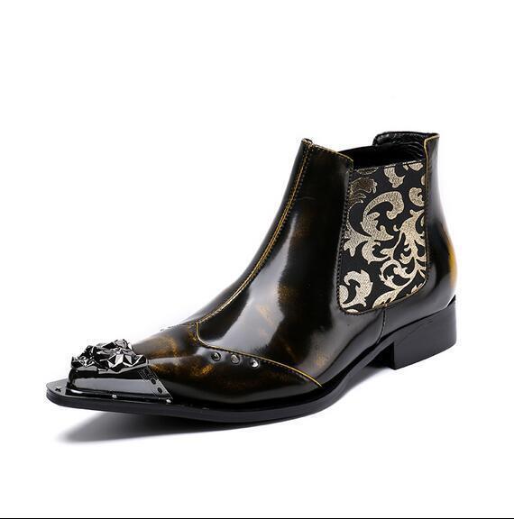 Para hombre elegante Charol botas al tobillo de metal del dedo del pie Impreso Elástico Zapatos de Sea1