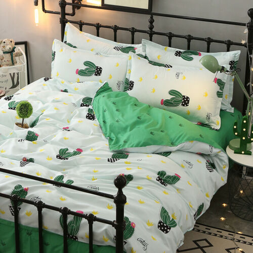 Cactus Print Green Bedding Set Duvet Quilt Cover+Sheet+Pillow Case Four-Piece