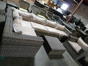 Image Is Loading DISTRESSED OUTDOOR WICKER SECTIONAL SOFA CHAIR COFFEE TABLE
