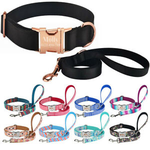 Personalized-Dog-Collar-Adjustable-Dog-Leash-Custom-Engraved-Pets-ID-Name-XS-L