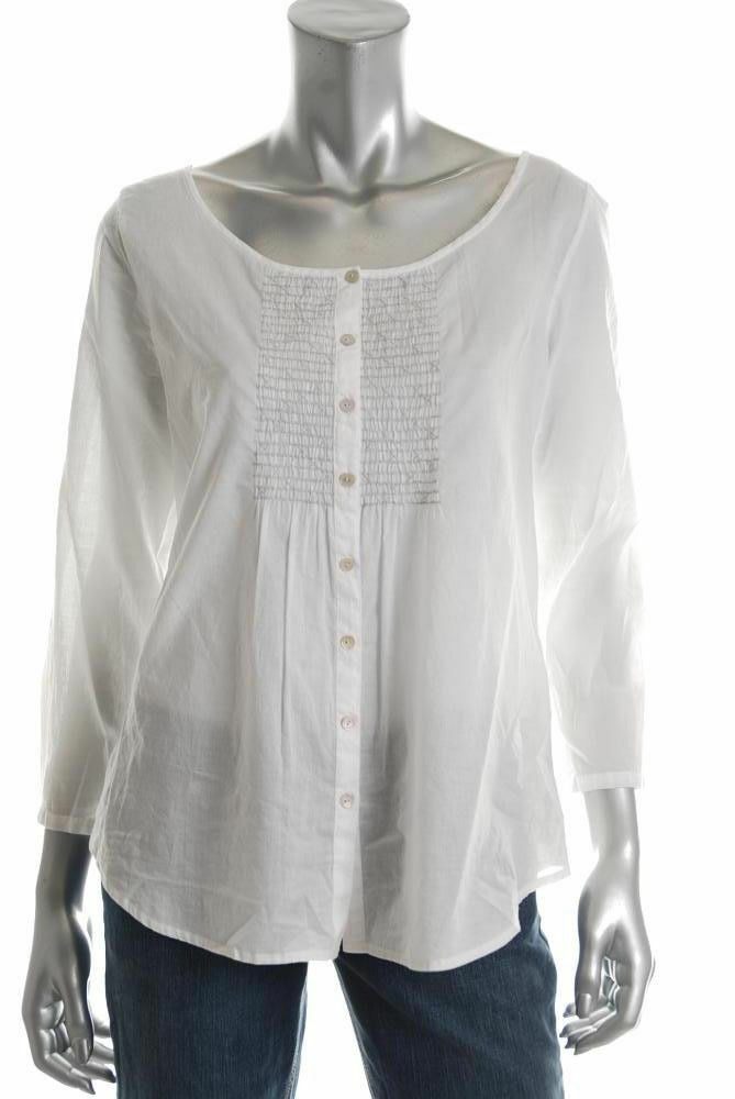 New EILEEN FISHER Weiß Organic Cotton EmbroideROT Tunic Top Sz M