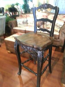 Ornate Counter Height French Country Black Distressed