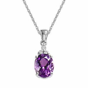 Womens-Natural-Amethyst-Round-Oval-Pendant-Necklace-in-925-Sterling-Silver