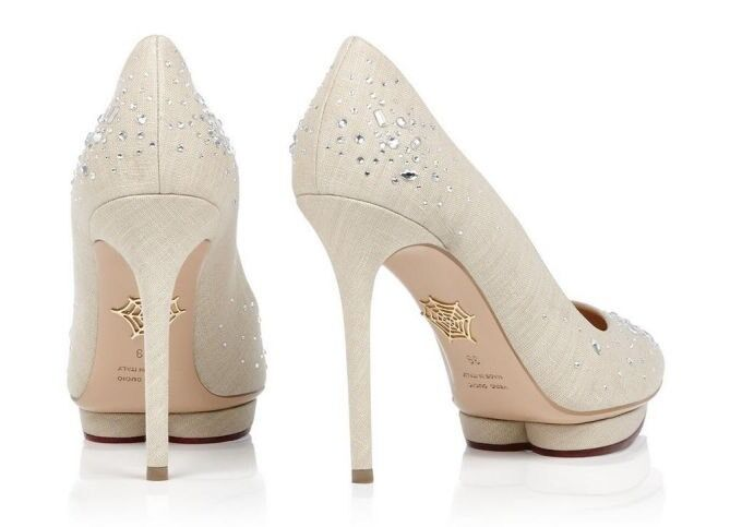 Charlotte Olympia canvas Bejeweled Debbie crystal-embellished canvas Olympia pumps UK 6.5 14e414
