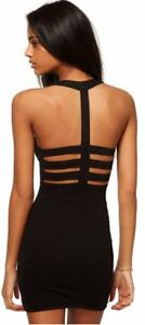 Womens-Motel-Leona-Fitted-Bodycon-Strappy-Ladder-Back-Mini-Party-Dress