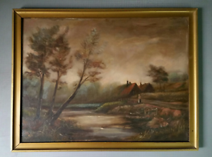 Antique-19th-c-oil-painting-signed-A-Smith