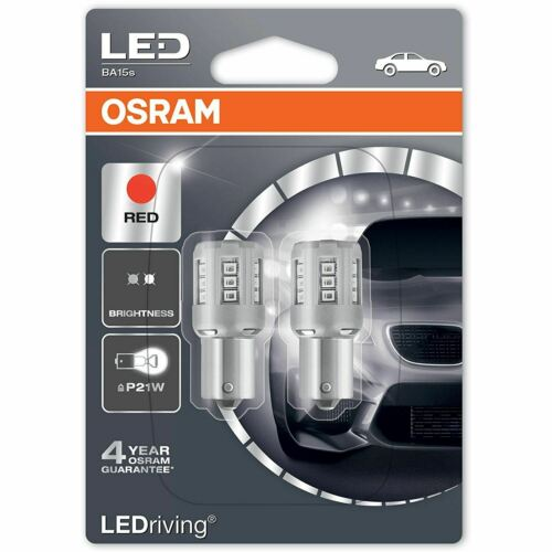 2x OSRAM 7456R-02B P21W BA15s LEDriving Red Exterior Bulbs Rear Brake