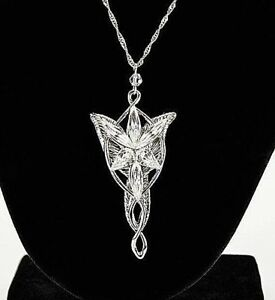 Lord Of The Rings Arwen/' Evenstar Pendant Necklace Silver Plated Crystal set 18/""