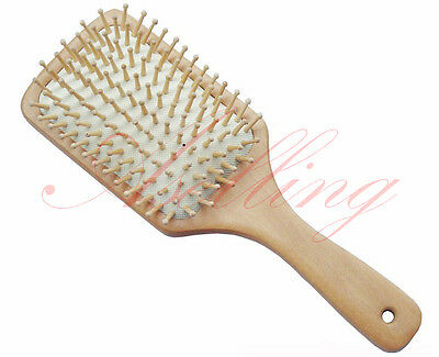 Wooden Hair Vent Paddle Brush Hair Keratin Care Spa Massage Antistatic Comb R09