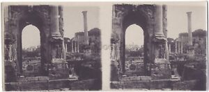 Roma Italia Forum Stereo di Carta Vintage Analogica Ca 1915