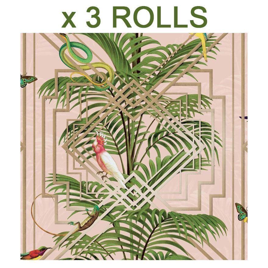 Tropical Palm Tree Wallpaper gold Green Pink Birds Metallic Holden Decor x 3