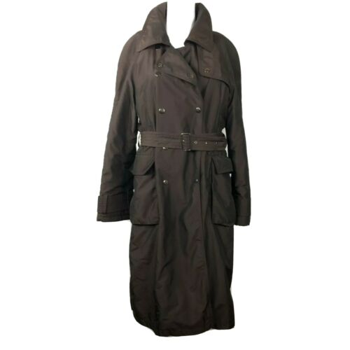 Ensign London Long Puffer Trench Coat Sz M Belted