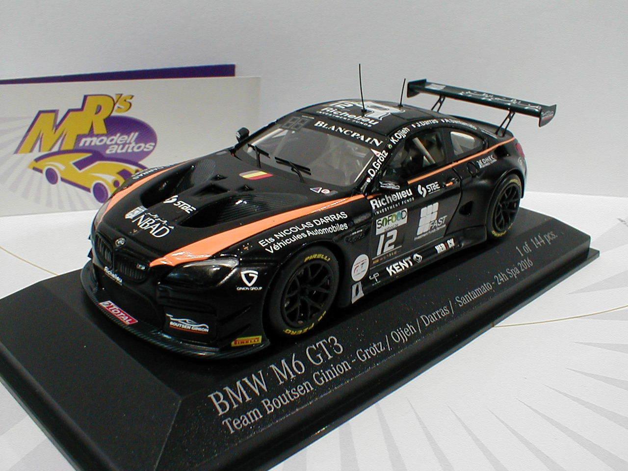 MINICHAMPS 437162612-BMW m6 gt3 No. 12 12 12 24 H. Spa 2016 équipe Boutsen Ginion 1 43 01dfb2