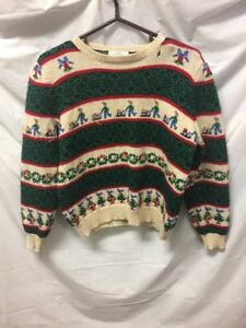 VTG-Susan-Bristol-Winter-Christmas-Sweater-Womens-Sz-L-P-Ugly-Party-Vintage