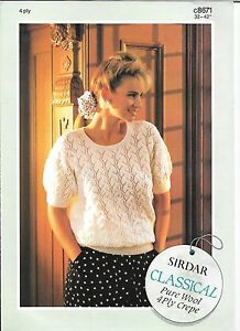 1eb8be52339 Details about Vintage Sirdar Knitting Pattern Ladies Lacy Pattern S/S  Jumper 32