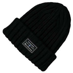 BEN SHERMAN Mens Solid Ribbed Knit Winter Beanie Hat Black One Size ... f54682cedff