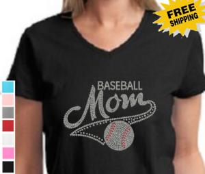 4191b52987 Details about Rhinestone Bling Baseball Mom Family Sports Womens V Neck  T-Shirt Ladies Tshirt