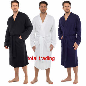 Mens Dressing Gown Gowns Robe 100% PURE  Cotton WAFFLE  SUMMER SPA GOWN