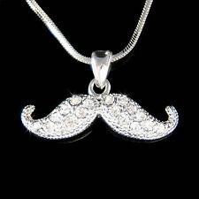 w Swarovski Crystal ~Mustache~ Fun Modern Bridal Wedding Party Pendant Necklace
