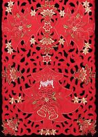 Holiday Christmas Poinsettia Candle Bell Placemat Table Cloth Runner Red 6676