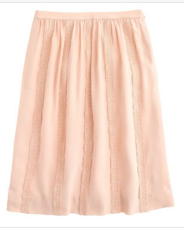 J.Crew Collection Lace Stripe Silk Skirt Peach Nude Below Knee Midi 6