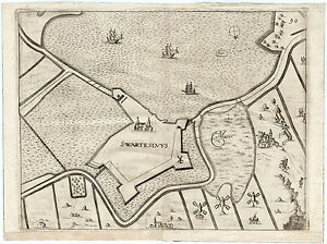 Antique Map-ZWARTSLUIS-SWARTESLUYS-NETHERLANDS-FORTRESS-Gualdo Priorato-1683