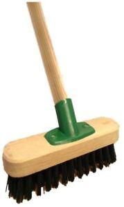 Heavy-Duty-Rigida-Pavimento-scrubbing-Deck-Scrub-per-cortile-scopa-e-manico-in-legno