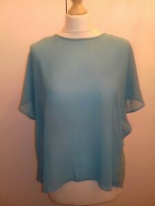 LITTLE MISTRESS SZ 10 TURQUOISE SHEER OPEN WATERFALL LACE BACK TOP/COVER UP.VGC