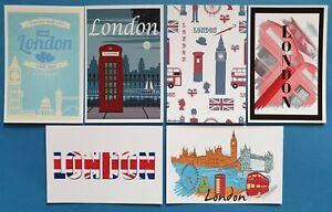 Set-of-6-Brand-NEW-London-Postcards-Travel-City-Big-Ben-Tower-Bridge-52M