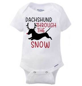 b3a637d73 Dachshund Through The Snow Gerber Onesie | Dog Lover Pet Owner Baby ...
