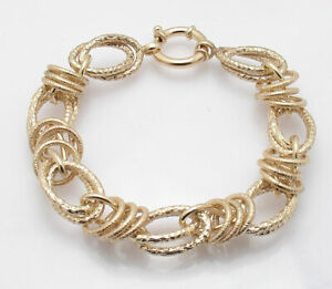Technibond Bold 15mm Rolo Bracelet 14K Yellow Gold Clad Silver 925 Senora Clasp