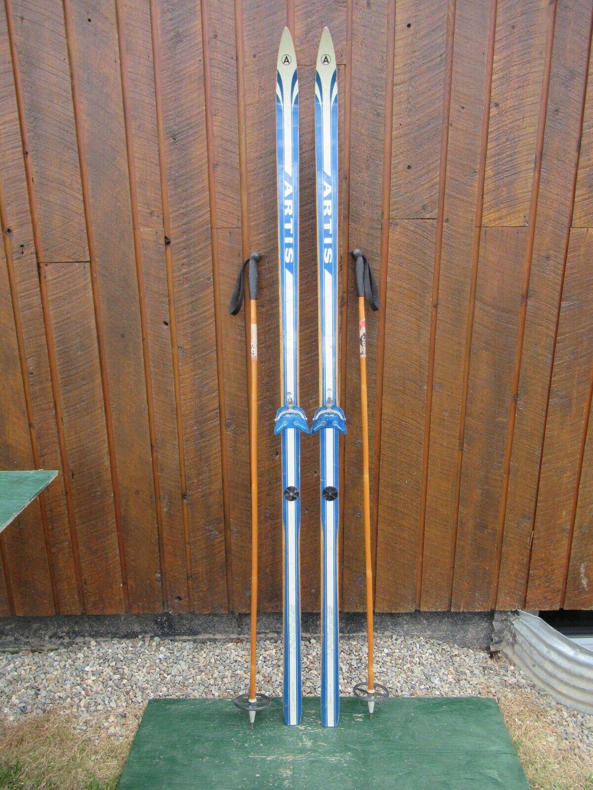 VINTAGE Wooden 79  Skis Has Metal Bindings + Beautiful Blau Finish + Bamboo Pole