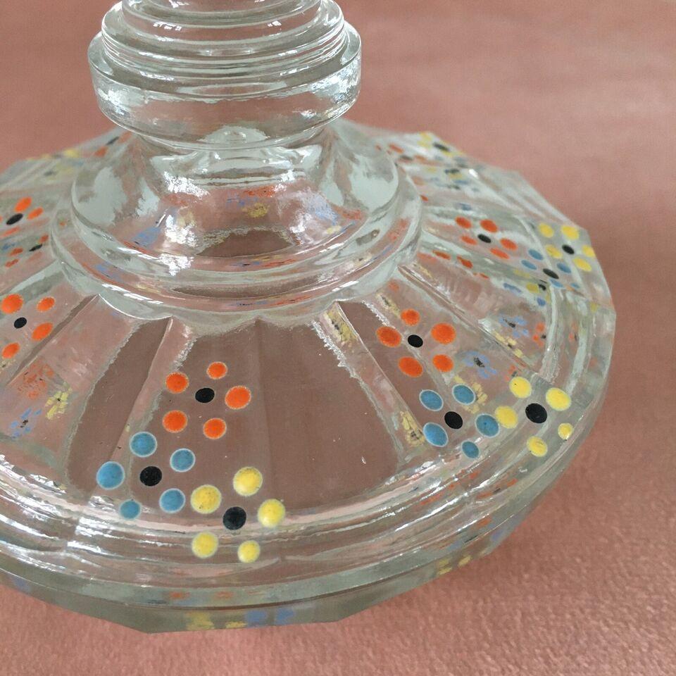 Glas, Glasbonbonniere med låg, Vintage