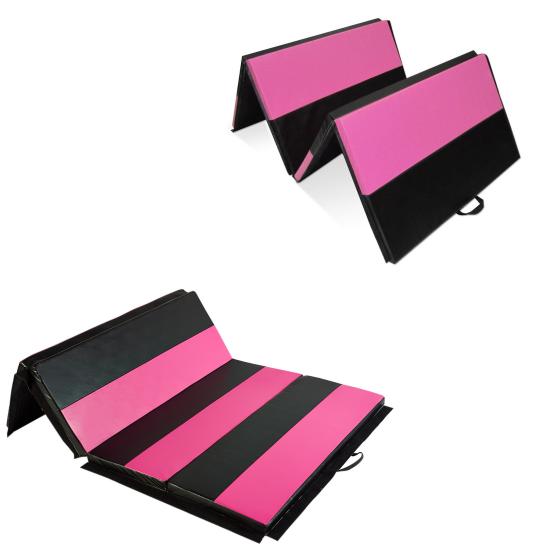 6 Or 10ft Folding Gymnastics Mat Workout Exercise Yoga Tumbling Pu Leather Panel