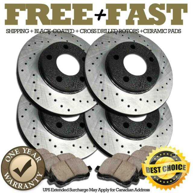H0118 FRONT+REAR BLACK Drill Brake Rotors Pads FOR 2003