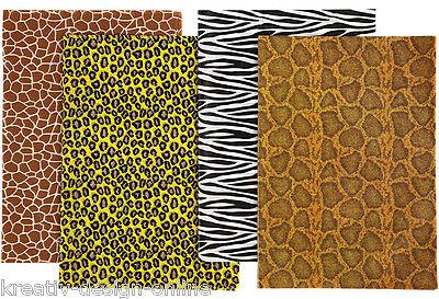 "8 Bogen/Blatt Decoupage Papier VIVI GADE  25cm x 35cm 4 Motive ""Tierfell"""