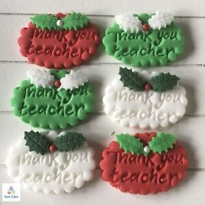 Christmas Cake Decorations.Details About Thank You Teacher Gifts Edible Christmas Cake Cup Cake Decorations Toppers