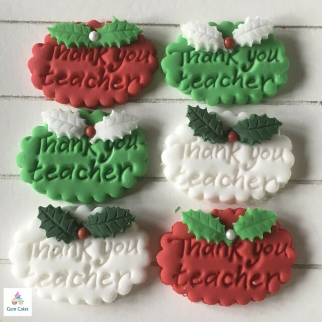 Thank You Teacher Gifts Edible Christmas Cake  Cup Cake Decorations Toppers