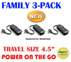 FAMILY-PACK-3-MINI-Outlet-Surge-Strip-LUGGAGE-COMPANION-NEW-by-Philips
