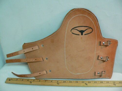 LONGHORN VEG//NAT Tan// Handmade Genuine Leather Hand Stamped Welder/'s Cuff Adj